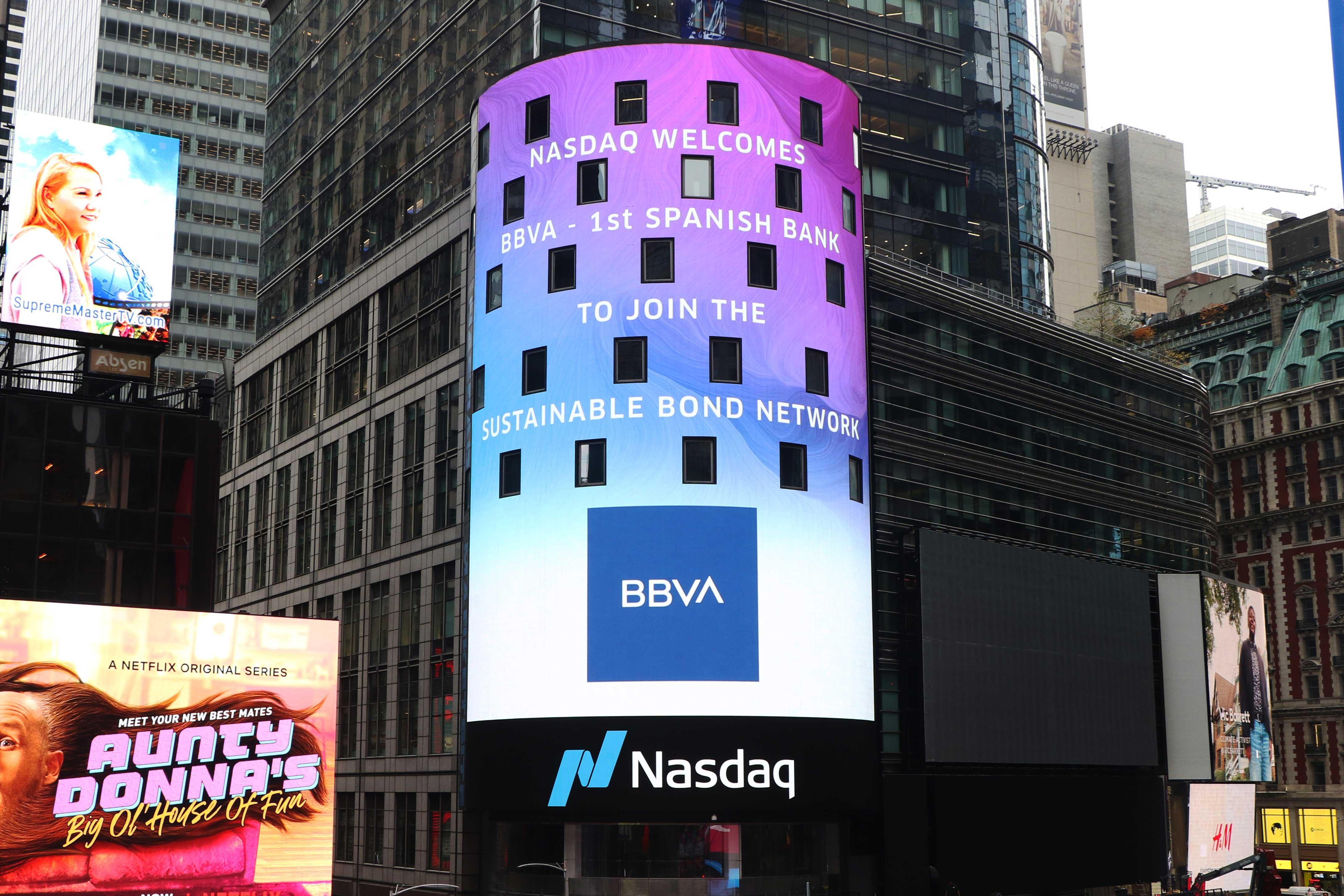 BBVA, primer banco español en el mercado de deuda sostenible del Nasdaq